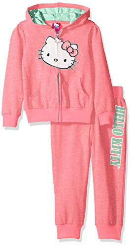 (Hello Kitty Baby Little Girls' 2 Piece Embellished Active Set, Neon Heather Pink)