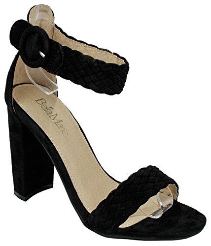 - J.J.F Shoes Women's Shirley Black Braid Strappy Open Toe Mary Jane Faux Suede Block Heel Dress Sandal-8.5