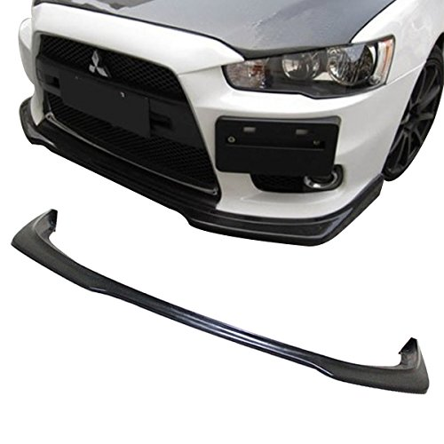 Front Bumper Lip Fits 2008-2015 Mitsubishi Lancer | Ralliart Style Black PU Front Lip Finisher Under Chin Spoiler Add On by IKON MOTORSPORTS | 2009 2010 2011 2012 2013 2014