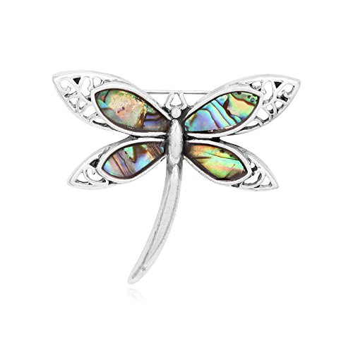 Antique Silver Nature Abalone Paua Shell Dragonfly Insect Brooch for Women (Antique Silver) ()
