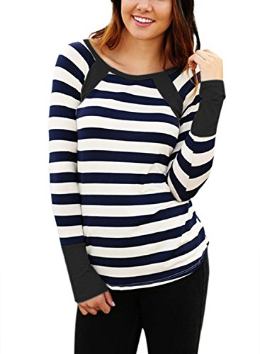 Astylish Women Casual Color Block Crewneck Long Sleeve Striped T-Shirt Blouse Tops
