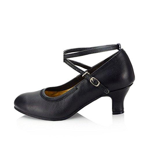 BYLE Sandalias de Cuero Tobillo Samba Danza Jazz Moderno Zapato de Baile Zapatos de Cuero, Adulto Suave, Verano Negro 5.5CM Onecolor