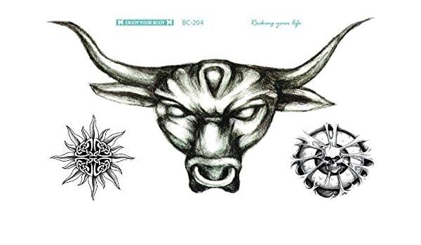 Tatuaje de Toro Bull Tattoo Negro Fake Tattoo bc204 Arm Tattoo ...