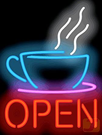 Coffee Cup Neon Open Sign Amazon Com