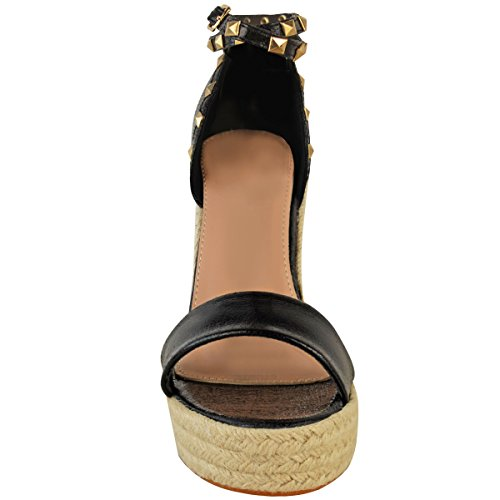 Esapdrille High Size Black Fashion Ladies Sandals Womens Platforms Studded Heel Wedges Faux Leather Thirsty Summer HYYIqPB