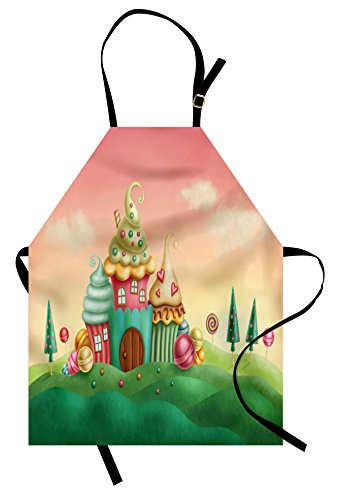 Lunarable Teen Girls Apron, Fantasy Houses from Cupcakes Can