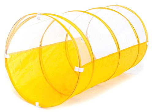 Sunshine Yellow Development Crawl Play Tunnel w/ Safety Meshing for Child Visibility & Tote Bag (Kids Crawl Tunnel)