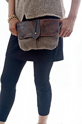 Brown Big Leather and Canvas Hip Bag - Fanny Pack - Traveler Bag - Utility Hip Belt - Hip Pouch by Ruth Kraus