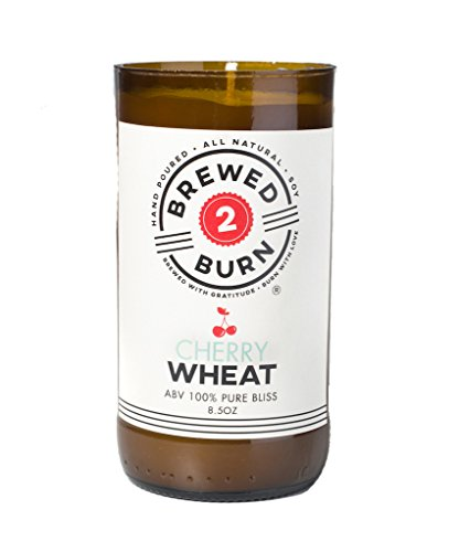 Brewed2Burn - Cherry Wheat Craft Beer Scented Candle 8.5oz All-Natural Soy Wax - Hand-Poured Authentic Beer Bottle ABV 100% Pure Bliss   Floral & Fresh: Cherry Blossom, Flower Petals & Vanilla ()