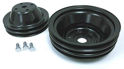 Pirate Mfg SBC Long Water Pump Black Steel Double/Triple Groove Pulley Kit 283-350 V8 ()
