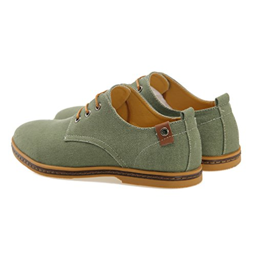 YiJee Herren Übergröße Freizeit Schnürhalbschuhe Low-Top Schuhe Armee Grün