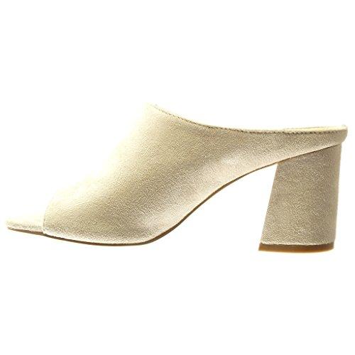 de823e7c3dff1d ... Angkorly - Chaussure Mode Mule Sandale femme Talon haut bloc 8.5 CM -  Beige ...