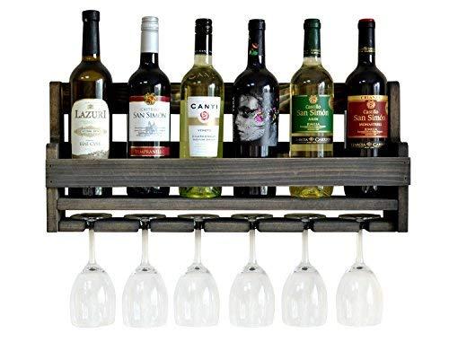 MyFancyCraft Handmade - Wood - Wine - Rack Natural Pine Ebony Decor Bottle - Holder Organizer Wall Mounted (Brown)