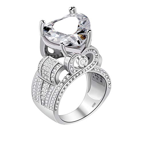 Two Hearts Ring - Uloveido Unique Platinum Plated Big Love