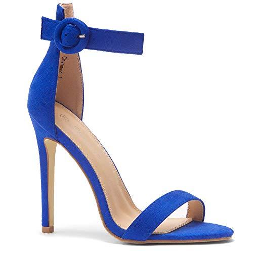 Herstyle Charming Women's Open Toe Ankle Strap Stiletto Heel Dress Sandals Elegant Wedding Party Shoes Royal Blue 8.0