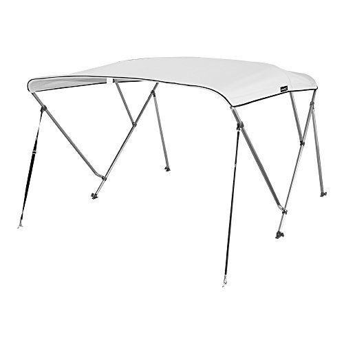 """MSC 3 Bow Bimini Boat Top Cover with Rear Support Pole and Storage Boot, Color Grey, Pacific Blue, Burgundy,Navy,Beige,Forest Green available (White, 3 Bow 6'L x 46""""H x 61""""-66""""W)"""