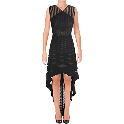 BCBG Max Azria Womens Keanna Mesh Striped Evening Dress Black 10 (Party Bcbg Dress)