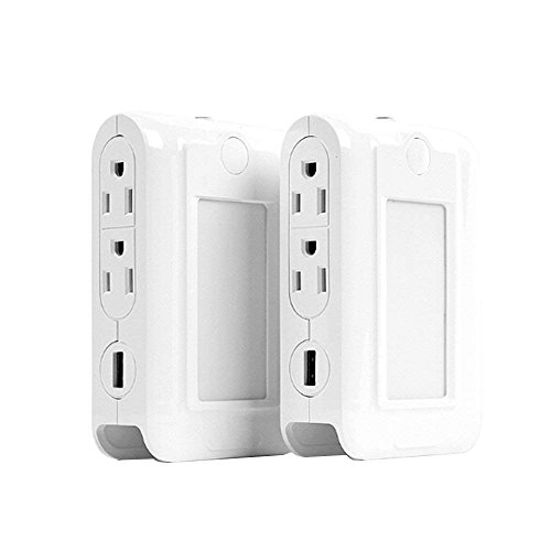 MMUSC Wall Mount Charger, MMUSC 2 USB Ports & 4 AC Outlets Charging Station, Dusk to Dawn LED Night Light, Surge-protected Power Socket Extender with Phone Holder Slot