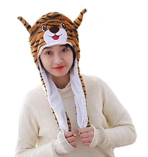 Debbieicy Lovely Costume Props Plush Bunny Hat Cute Animal with Movable Ears-Ideal Gift for Party and Celebrations (Tiger) ()