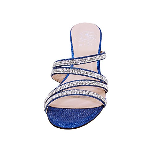reliable online Floral Kelly Women Wide Width Rhinestone Strappy Slip On Wedge Heeled Party Sandals (Size/Measurement) Blue clearance 2014 unisex discount new arrival ibzoNbL