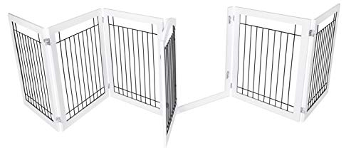 (BIRDROCK HOME Indoor Dog Gate with Door   6 Panel   30 Inch Tall   Enclosure Kennel Pet Puppy Safety Fence Pen Playpen   Durable Wooden and Wire   Folding Z Shape Free Standing   White)