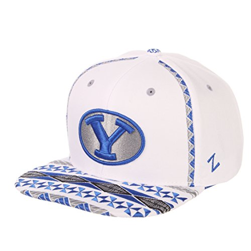 Zephyr NCAA BYU Cougars Men's Pukalani Snapback Hat, Adjustable, White