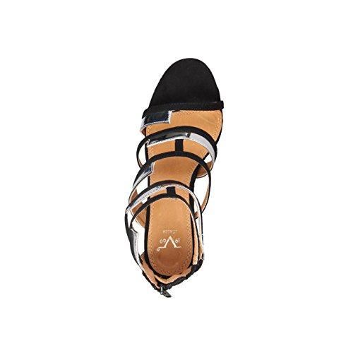 V 1969 - EVE_ARGENTO Sandali Da Donna Con Zip Posteriore Tacco 10 cm, Piattaforma 1 cm