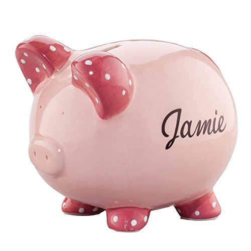 (Personalized Ceramic Kids Piggy Bank by Miles Kimball - Pink)