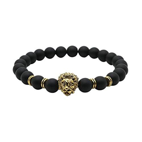Oyedens Bouddha Leo Lion Bracelet Noir Lave Pierre Perle Bracelets Pour Hommes Femmes - B