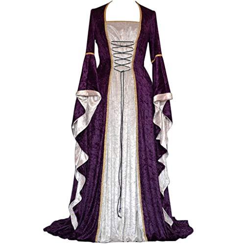 MILIMIEYIK Womens Deluxe Medieval Renaissance Costumes Halloween Cosplay Dress Waist Tie Irish Over Victorian Retro Gown -