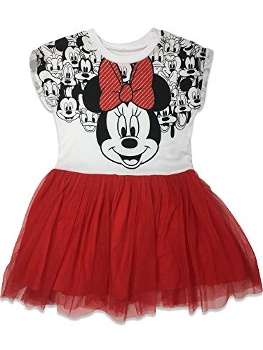 Disney Baby Girls' Minnie Mouse Tulle Dress, White/Red (24M)