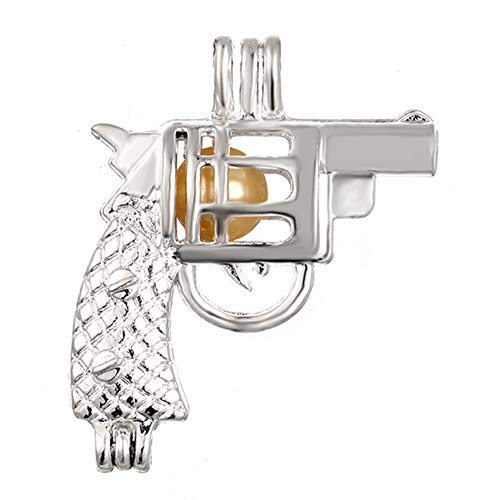 - 10pcs Revolver Gun Pearl Cage Bright Silver Beads Cage Locket Pendant Jewelry Making--For Oyster Pearls, Essential Oil Diffuser, Fun Gifts (Gun)