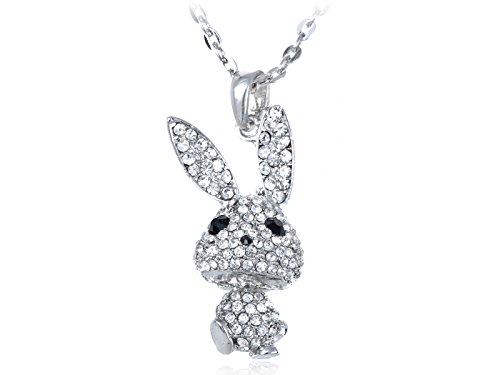 Alilang Silvery Tone Crystal Rhinestone Bobble Anime Bunny Rabbit Pendant Necklace