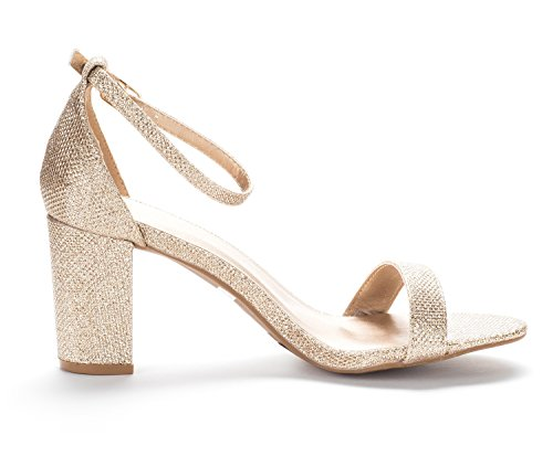 Wedding Sandals Stiletto Open Dress Heel Ankle Women's PAIRS Gold Pumps Chunky Toe Low Evening Glitter Strap DREAM CHUNK Zw4qSfO