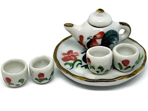 (Tea Set Miniatures Antique Vase Vintage Furniture Dollhouse Ceramic Paint Furniture Bundles Artificial Home Decoration Realistic Collectible Jar Pot Lot Doll)