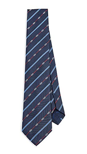 (Salvatore Ferragamo Men's Gancio Stripe Tie, Navy/Red, One Size )