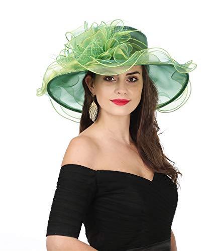 SAFERIN Women's Organza Church Kentucky Derby Fascinator Bridal Tea Party Wedding Hat (3190-Green Mash)