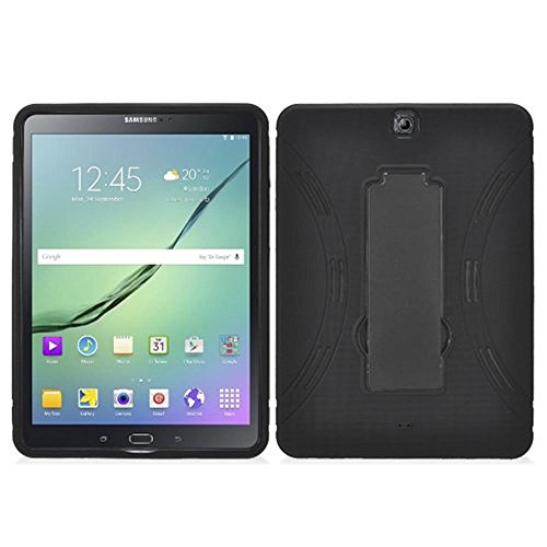 Galaxy Tab S2 9.7 Case, Kuteck Hybrid Full-body Defender Protective Cover Case w/Stand For Samsung Galaxy Tab S2 9.7'' SM-T810 T815 T817, Free Stylus Pen (Black) by KUTECK