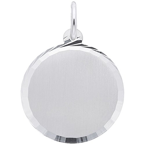 Rembrandt Charms, Diamond Cut Disc, Brushed Finish.925 Sterling Silver, Engravable ()