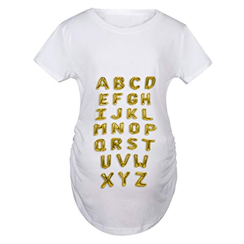 Benficial Women Short Sleeve Maternity Blouse Printed Pregnancy Tops Long T-Shirt White]()