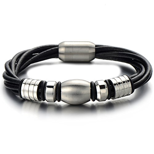 Leather Bracelet Stainless Genuine Wristband