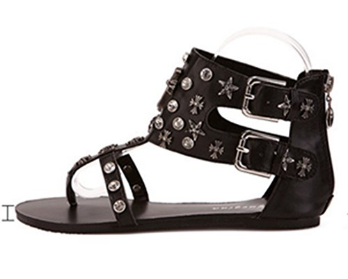 Crc Kvinna Elegant Romersk Stil Dubbade Tillfälliga Bekväma Syntetisk Flip-flop Flats Sandaler Svart