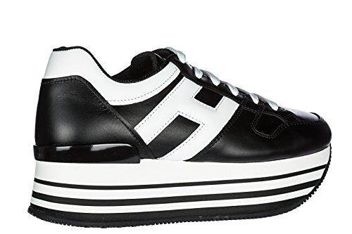 Hogan Damenschuhe Turnschuhe Damen Leder Schuhe Sneakers H222 Schwarz