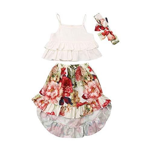 Baby Girl Dress Fashion Summer Girls Skirt Floral Child Baby Girl Camisole Top + Braces Skirt Dress Costume (90, White)]()