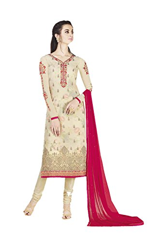 Indian Women Designer Partywear Ethnic Traditonal Biege Salwar Kameez by Indianfashion Store