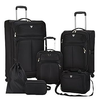 Image of Travelers Club Luggage Hartford 6-Piece Softside Luggage Set, Black Luggage