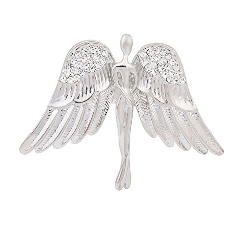 Fenni Women's Crystal Guardian Angel Wings Pin Brooches Protection Baby Jewelry Lapel Pin Badge Gift (Silver)