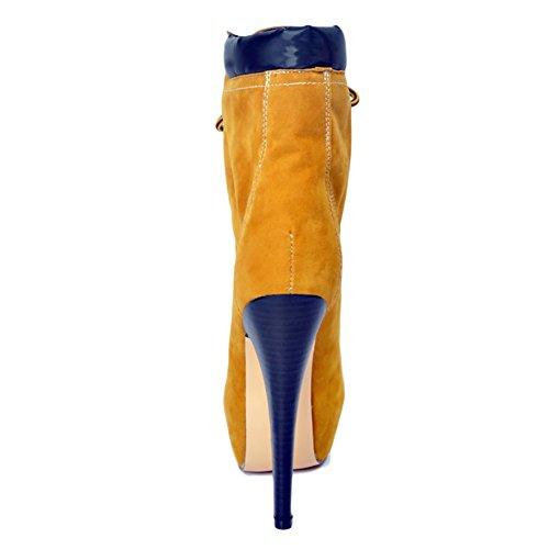 EKS Damen Niets Stiletto Schuhband Kleid-Partei Plattform Rounde Plus Size Kurz Stiefel Gelb-15cm