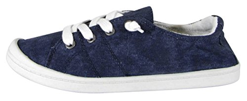 Cambridge Select Women's Closed Round Toe Slip-On No Tie Stretch Lace Fashion Sneaker,10 B(M) US,Blue Denim