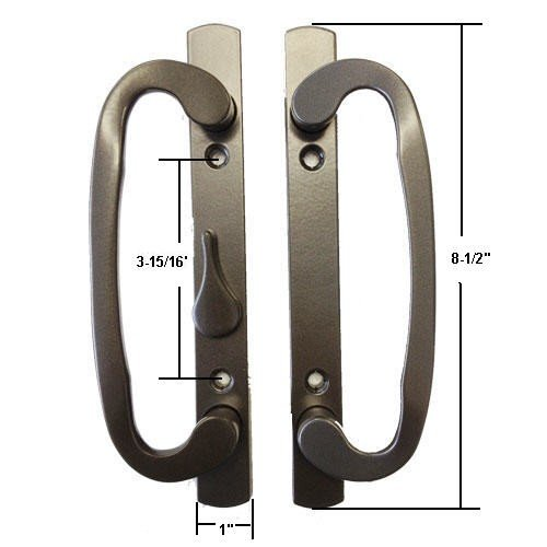 Bronze, Non-Keyed, Sash Controls Mortise-Style Patio Door Handle, B-Position, 3-15/16 in. Screw ()